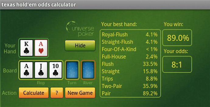 universe poker Texas Hold'em Odds Calculator App